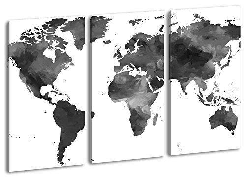 bunte Weltkarte Format: 3-teilig 120x80 Effekt: Schwarz/Weiß als Leinwand, Motiv fertig gerahmt auf Echtholzrahmen, Hochwertiger Digitaldruck mit Rahmen, Kein Poster oder Plakat