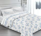 ANGEBOT komplett Bettwäsche Doppelbett Cloe hellblau–in italienischer Baumwolle–Made in Italy Qualitätsprodukt