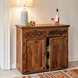 RjKart Solid Sheesham Wood Side Board Cabinet for Living Room | Console Table with Drawers | for Kitchen & Dining Room | Honey Finish