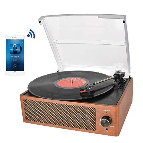 Bluetooth Platine Vinyle, Retro Portable Tourne-Disque à Trois Vitesse 33/45/78 avec Haut-parleurs...