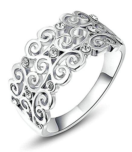Gnzoe Gioielli, Placcato argento Cava Fiore Cubic Zirconia Matrimonio Matrimonio Anelli per Donna