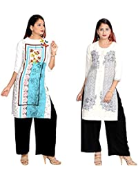 Prateek Export Cotton Printed Straight Long Kurti/Kurta - B07D34ZK3S