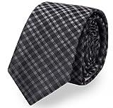 Schmale Krawatte von Fabio Farini kariert in schwarz grau