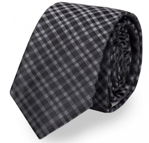 Fabio Farini klassische, schwarz-grau karierte 8 cm Krawatte, Buisness-Krawatte