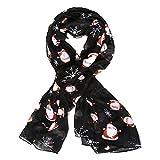 Accessoryo - Frauen Limited Edition Vater Weihnachten / Schneeflocke Thema schwarz Schal