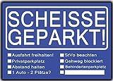 Scheisse Geparkt lustiges Set aus 2 Blöcken Rot & Blau für Autofahrer die genervt sind von Falschparker auf Privatparkplätzen, zugeparkt werden, als Geschenk zum Führerschein Ein Block -