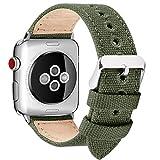 Fullmosa Compatibile Cinturino Apple Watch 44mm 42mm 40mm 38mm,8 Colori Canvas Nato Stile per Cinturino Iwatch Compatibile con Apple Watch Series 4 (44mm 40mm) Series 3,2,1 (42mm 38mm), 38mm Verde