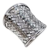 Fly Style - Breiter Designer Silber Ring aus 925 Sterling Silber - geflochten/gewebt - Karen Hill Tribe Schmuck handgefertigt thai ethno boho damen antik, Ring Grösse:18.4 mm