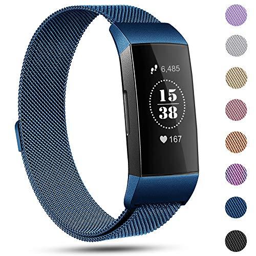 Für Fitbit Charge 3 Armbänder,eDriveTech Ersatz Fitness Armband -Metal Milaneses Wristband Armband für Fitbit Charge3 Original Fitness Tracker Damen Herren Zubehör Ersatzarmband (Blau,Groß)