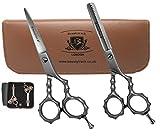Set di forbici professionali per barbiere - acciaio inox giapponese - il parrucchiere barber-scissors e baber-thinning 15,2 cm set di forbici per uso professionale e personale integrato finger re