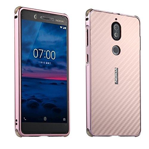 Nokia 7 Carbon Fiber Look Kohlefaser Optik FederLeicht Hülle Bumper Cover Schutz Tasche Schale Hardcase für Nokia 7, Rose