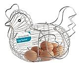 from KitchenCraft KitchenCraft Chrome-Plated Wire Chicken-Shaped Egg Holder Basket, 34 x 26 x 24 cm (13.5 x 10 x 9.5) Model KCCHICKLRG