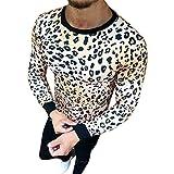 NPRADLA 2018 Shirt Herren Leopard Druck Langarm O Ausschnitt bullige Muskeln Basic Einfarbig Bluse T Shirt Top