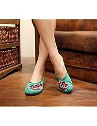 Chnuo Feine gestickte Schuhe Sehnensohle ethnischer Stil weiblicher Flip Flop Mode bequem Sandalen black 41