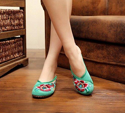 ZQ Feine gestickte Schuhe, Sehnensohle, ethnischer Stil, weiblicher Flip Flop, Mode, bequem, Sandalen Green