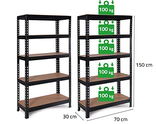 2x Ondis24 Metallregal Karl, Lagerregal 70 x 30 x 150 (H) cm, Kellerregal 500kg schwarz, Steckregal mit 5 Fachböden höhenverstellbar, Werkstattregal 5x 100kg belastbar, Schwerlastregal - Doppelpack!