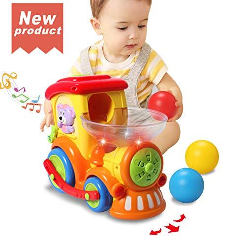 ACTRINIC Baby Spielzeug 18 Monate, Früher pädagogischer Elektrischer Zug mit Bällen,Beleuchtung/Musik/Universalrad,das Beste Spielzeug als Geschenk für 1 2 3 Jahre Junge Mädchen Kleinkind Spielzeug -