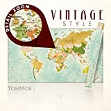 Welt-Karte im XXL Panorama-Format +++ 140x80 cm +++ Retro-Style +++ Vintage Antik +++ Blau +++ Wanddekoration +++ Poster +++ Wandbild +++ Worldmap