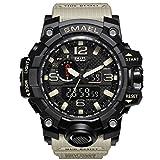 Montre sport Smael pour homme, étanche, affichage digital LED - Modèle Clock Man 1545- Style militaire, kaki