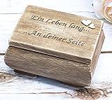 Hochzeit Ring-Box Ring-Schatulle Ring-Schachtel Braut Ringkissen Vintage Holz Ein Leben