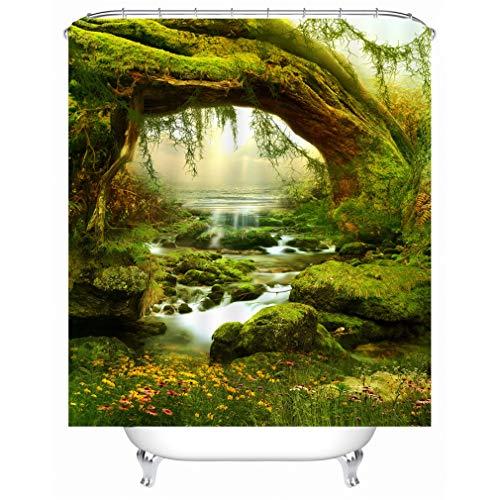 X-Labor Pflanzen Motiv Duschvorhang Wasserdicht Stoff Anti-Schimmel inkl. 12 Duschvorhangringe Waschbar Badewannevorhang 240x200cm Muster-C -