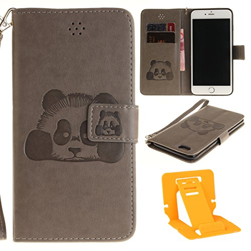 Ekakashop Custodia iphone 6S 4.7 inch, Cover iphone 6, Elegante borsa Custodia in Pelle Protettiva Flip Portafoglio libro Case Cover per Apple iphone 6 6S 4.7 inch / con Carte Slot / Chiusura Magnetic Grigio