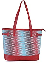 Women's Multicoloured Tote Bag With Zip Closure And Red Straps From Decorous