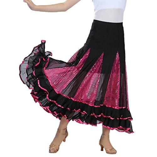 Wgwioo Long Swing Kleid Modern Waltz Tango Lace Röcke Standard Ballroom Kleid . Rose Red . F (Länge Waltz Kleid)