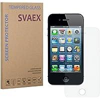 SVAEX iPhone 4 / 4S Pellicola Protettiva / Pellicola di Protezione dello Schermo - Qualità premium - Vetro con durezza 9H - Spessore di 0.3mm - Trasparenza ad alta definizione - Bordi arrotondati da 2.5D - Antiurto - Rivestimento oleorepellente - Tocco delicato - Vetro di alta qualità - Facile da installare - Adesivo in silicone che previene la formazione di bolle d'aria - Vetro giapponese