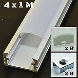 KIT de 4 x 1 mètre P2 Profilé en aluminium ARGENT pour les bandes LED avec couvercles satinés, bouchons et clips de fixation