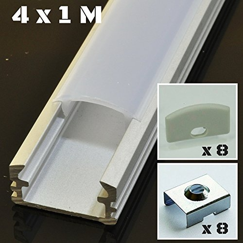 Lote de 4 x 1 metro perfil de aluminio P2 plateado para tiras LED con cubierta opaca, tapas y grapas de montaje incluidas