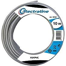 Electraline 11310 FEP/PVC Cavo Teflon alte Temperature per Lampadari, Sezione 3x0.75mm, Lunghezza 10 m, Forma Tonda, Trasparente