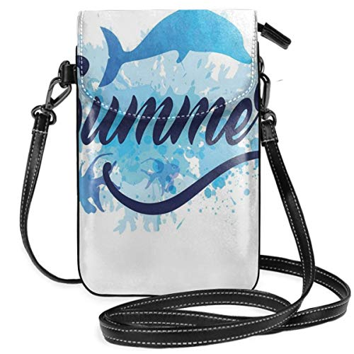Women Small Cell Phone Purse Crossbody,Abstract Summer Lettering With Fish And Dolphin With Color Splashes Image -