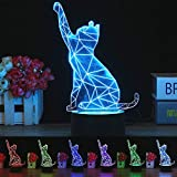 YUnnuopromi 3D LED Cat Lampe, Optische Illusion Visuelle Nachtlicht, 7 Farben Leichtes Haus Zimmer Dekor