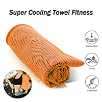 WAWJ Multi-functional Microfiber Ice Cooling Towel Fitness 100cm x 31cm For Yoga,Travel,Camping & Outdoor Sports (Orange)