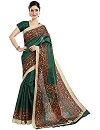Floral Trendz Women's Bhagalpuri Silk Zari Border Printed Saree With Blouse Piece.(Bhagalpuri 810_Free Size)