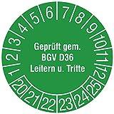 Labelident Prüfplaketten - Geprüft gem. BGV D36, Leitern und Tritte, Mehrjahresprüfplakette, Zeitraum 2020-2025, Ø 30 mm, 144 Stück, Vinylfolie grün, Aufdruck weiß