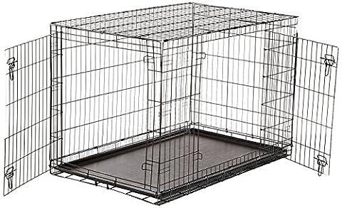 AmazonBasics Double-Door Folding Metal Dog Crate, 122 cm