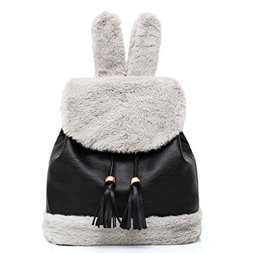 Rucksack Kolylong® Damen Elegant Plüsch Quaste Rucksack Vintage Rucksack PU Leder Schule Tasche für Mädchen Daypacks Tasche Schulrucksack Reisetasche Backpack (Schwarz)