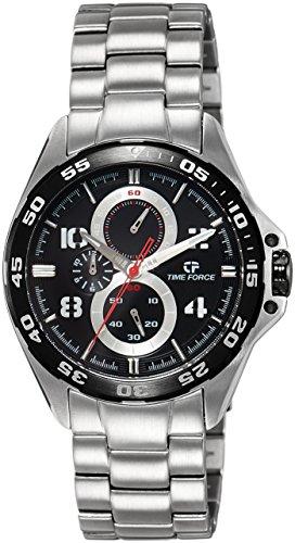 Time Force - TF3328M01M - Montre Homme - Quartz Analogique - Cadran Noir - Bracelet Acier Argent