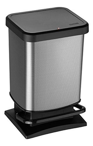 Rotho Paso Mülleimer 20 l mit geruchdichtem Deckel, Kunststoff (PP), carbon metallic, 20 Liter (29,3 x 26,6 x 45,7 cm) (Badezimmer Mülleimer Mit Deckel)