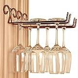 FLTRADE 2 Zeile Retro Bronze Gläserhalter Weinregale Edelstahl 28cm Gläserschiene Weinglashalter Regal Cup Hangers Rack Halter mit Schrauben Küche Bar