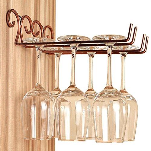 FLTRADE 2 Zeile Retro Bronze Gläserhalter Weinregale Edelstahl 28cm Gläserschiene Weinglashalter...