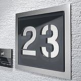 Edelstahl Hausnummer Anthrazit Nummernschild Türschild RAL7016