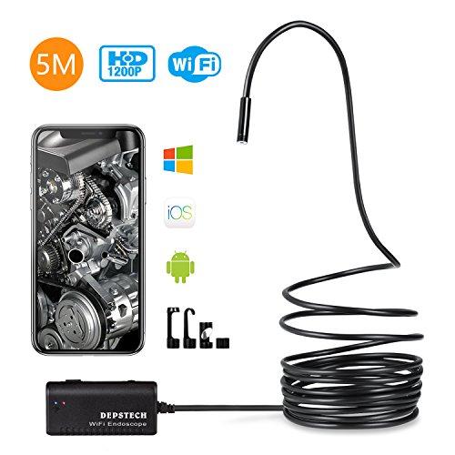 Endoscope iphone, Depstech 5m WiFi Endoscope IOS HD Caméra d'inspection  Étanche 2,0 Mégapixels Serpent avec 6 LED Compatible avec Android, IOS