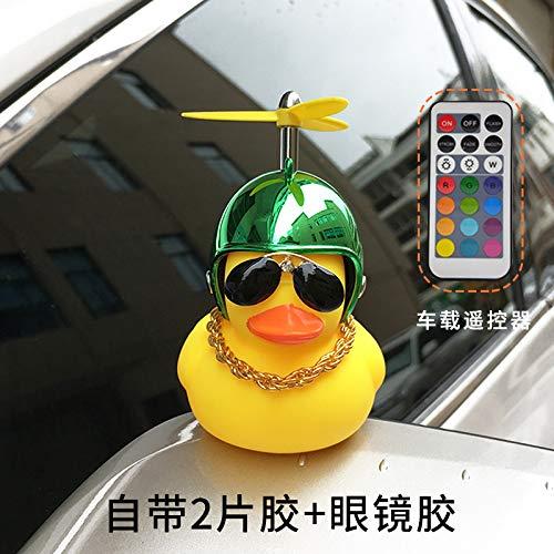 Auto-saugmagnet Fernbedienung Ente Linglight Rückspiegel Schaukel Stück Soziale Windbreaker Ente Trägt Helm Schutz Ente (Fernbedienung und Magnet) soziale Ente Bambus Spiegel grün -
