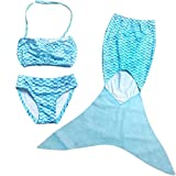 Badeanzug Cosplay Kostüm Juleya Mädchen Meerjungfrau Schwanz Kostüm Swimmable Bikini Set Blau 110