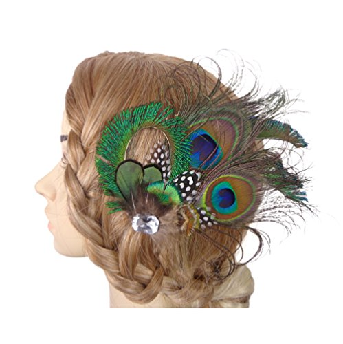 jelinda® Femmes paon plume de mariée cheveux Bibi Clip Bandeau