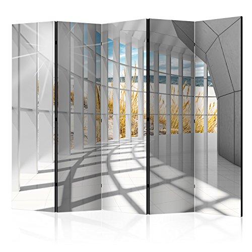 murando Raumteiler 3D Optik Korridor Meer Strand Foto Paravent 225x172 cm beidseitig auf Vlies-Leinwand Bedruckt Trennwand Spanische Wand Sichtschutz Raumtrenner grau beige c-C-0020-z-c