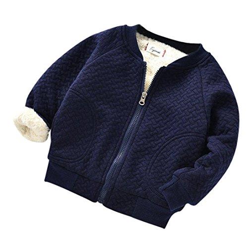 Amlaiworld Baby Mädchen Jungen langarm Plüsch Mäntel kinder mode flauschig warm winter pullis Jacke,0-24Monate (Dunkelblau, 6 Monate) (24 Monate-jacke-jungen)